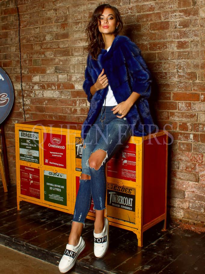 Куртка из аукционной норки в модном цвете электрик - Жакет Норка - Москва