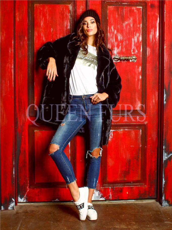 Модная норковая куртка в свободном стиле - Жакет Норка - Москва