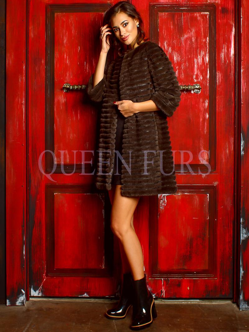 Легкое изящное полупальто из аукционной норки в Москве | QueenFurs