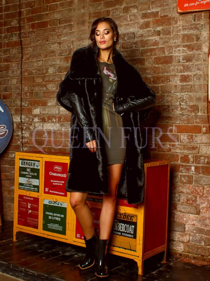 Стильное норковое пальто в мехе Blackglama, шуба норка - Москва