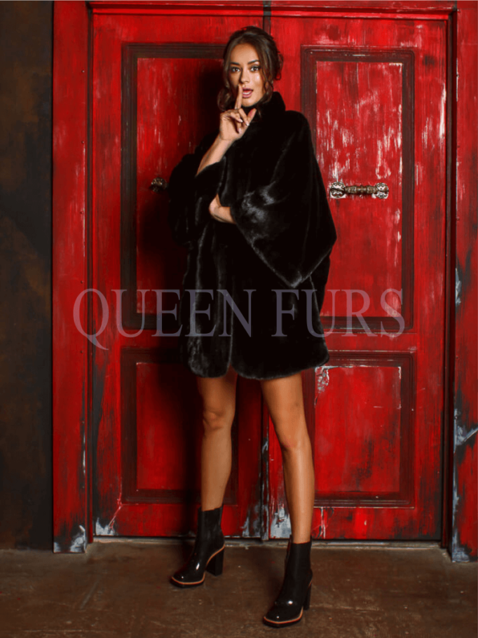 Жакет из меха норки в черном цвете 85 см, модель 0713
