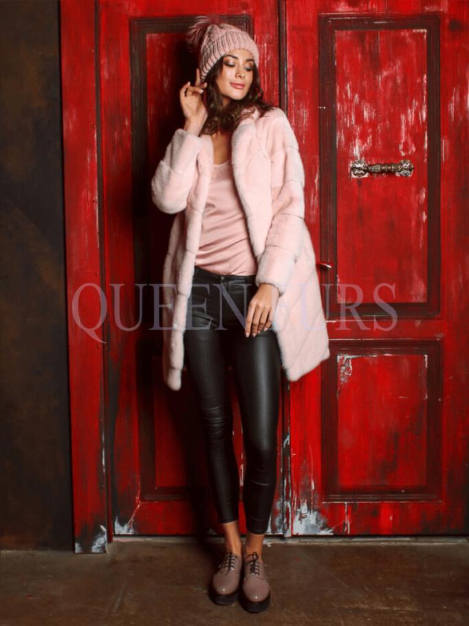 Полупальто из меха норки в розовом цвете 85 см, модель 2875