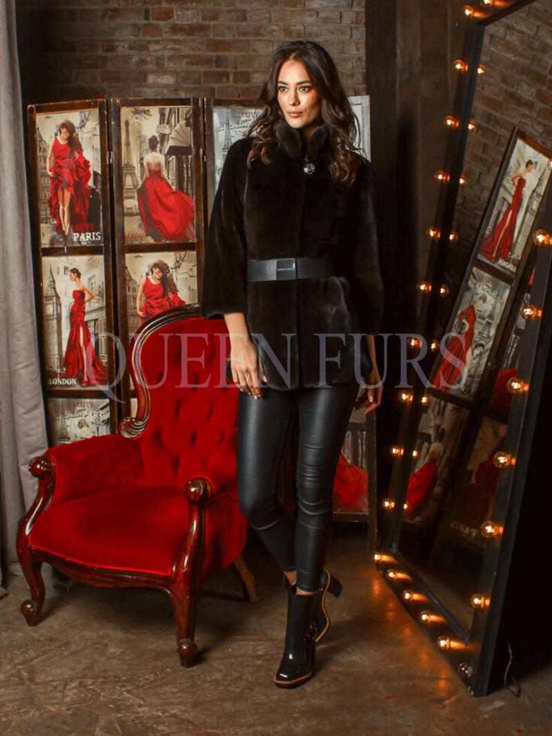 Жакет из меха норки в черном цвете 80 см, модель 3485