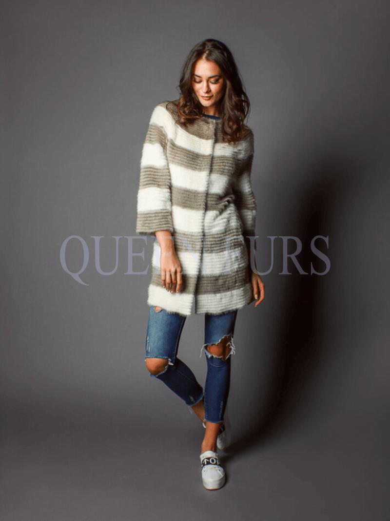 Женское пальто из вязанной норки, купить в Москве