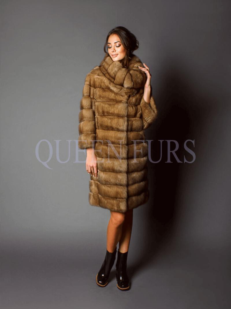 Стильное, модное пальто из меха соболя, купить в Москве