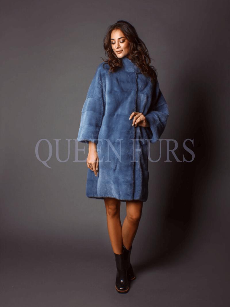 Шикарное итальянское пальто в свободном стиле, норка, купить в Москве
