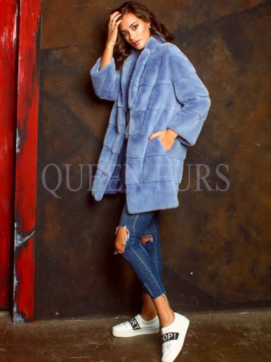 Полупальто из меха норки в синем цвете 90 см, модель 2787