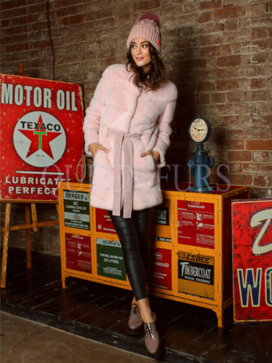 Жакет из меха норки в розовом цвете 85 см, модель 2791