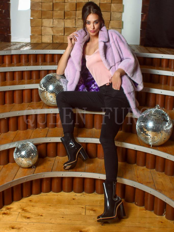 Жакет из меха норки в цвете лаванды 80 см, модель 0496