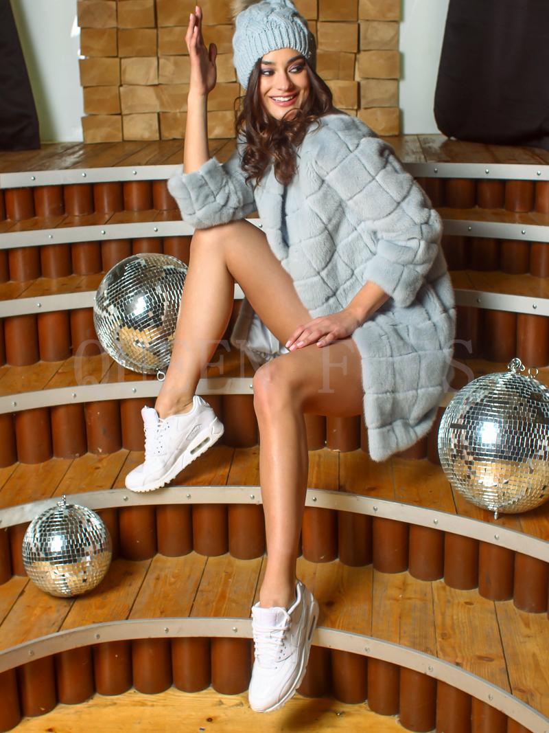 Полупальто из меха норки бренда Pajaro 90 см, модель 2569