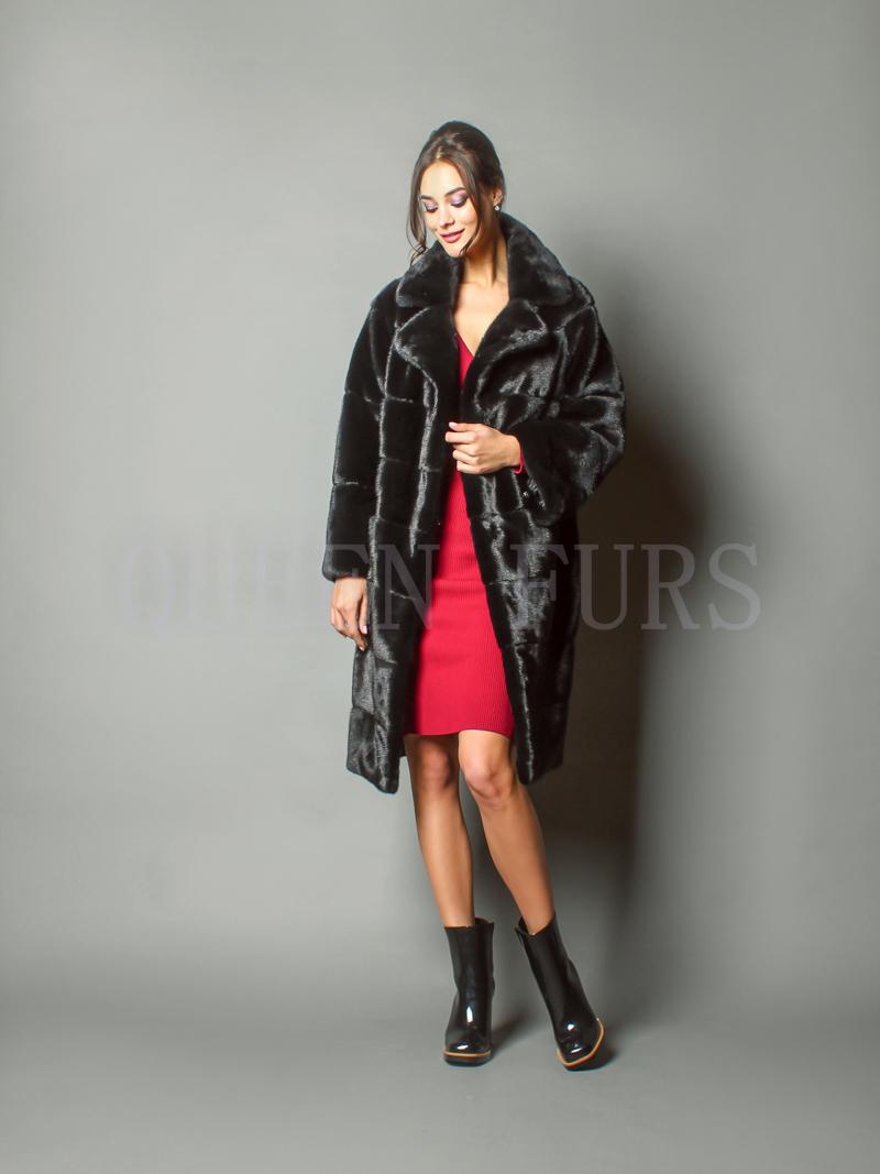 Стильное пальто из меха северно-американской норки - купить в Москве