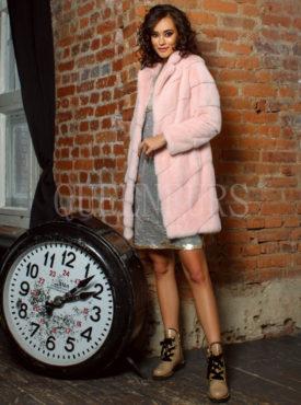 Шуба из меха норки розового цвета 90 см, модель 0449