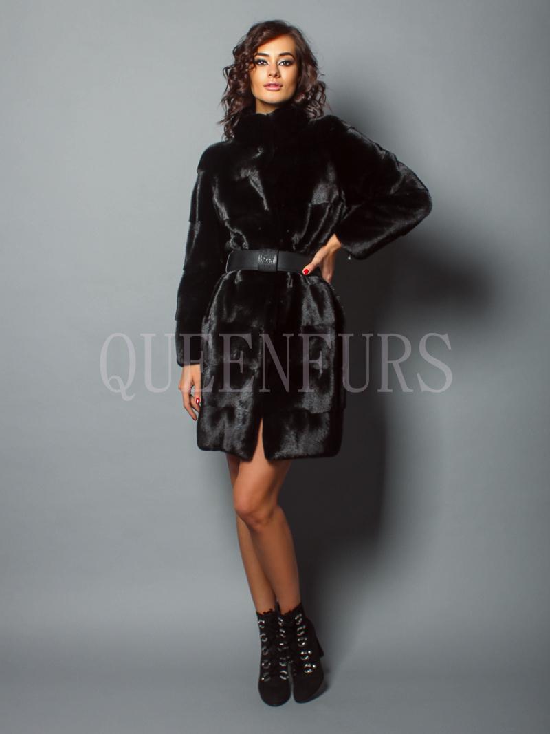 Элегантное пальто итальянского дома Romagna Furs | шуба норка - купить в Москве