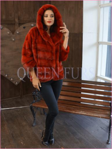 Жакет из норки в красном цвете 65 см, модель 002