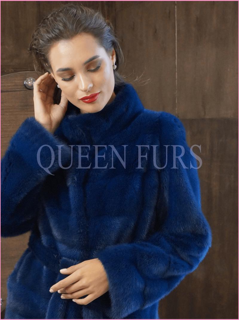Полупальто из меха норки в синем цвете 85 см - Москва
