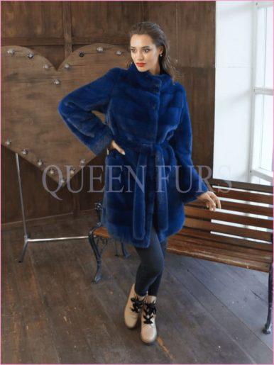 Полупальто из меха норки в синем цвете 85 см, модель 003