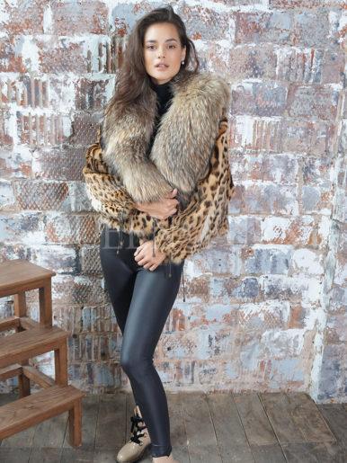 Жакет из меха оцелота пятнистого цвета 55 см, модель 008
