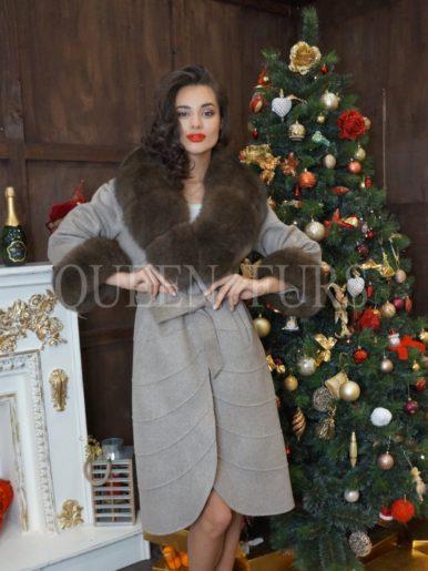 Пальто с мехом финского песца, бежевый, 120 см, модель 014