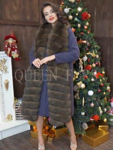 Пальто-двойка цвета тёмной лаванды  (+жилет с мехом финского песца ) модель 016