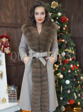 Пальто с мехом песца бежевого цвета, 110 и 120 см, модель 015