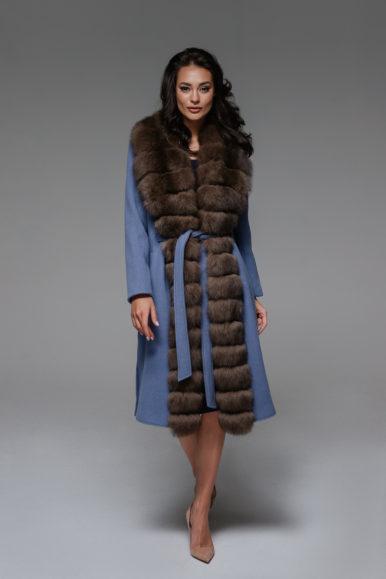 Пальто из кашемира с воротом из финского песца, синего цвета, 110 см, модель П-03