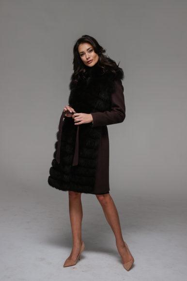 Шерстяное пальто из финского песца цвета тёмный шоколад, 100 см, модель П-05