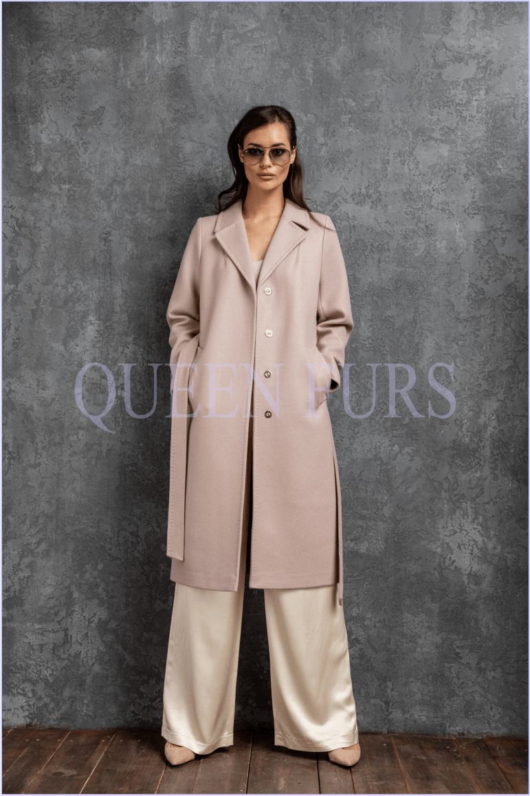 Итальянское пальто из кашемира с поясом