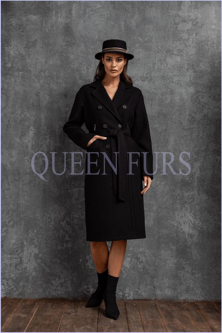 Двухбортное классическое пальто с поясом