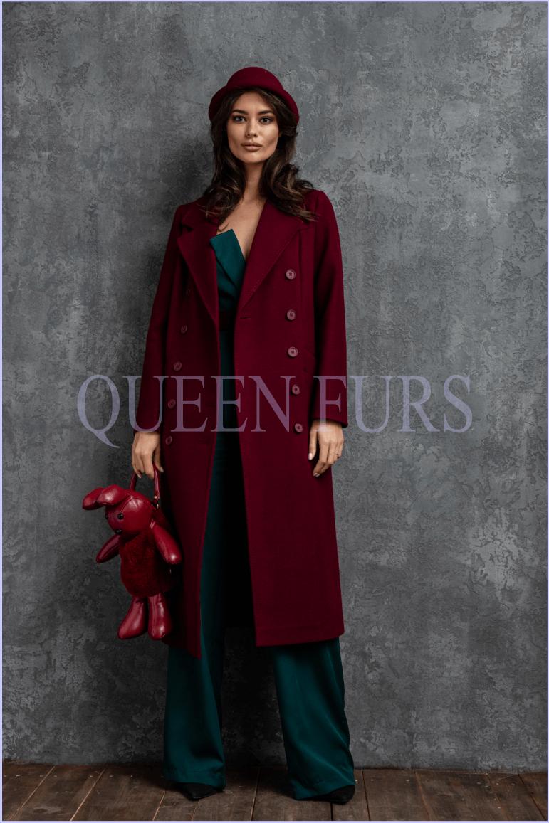 Итальянское пальто в цвете марсала