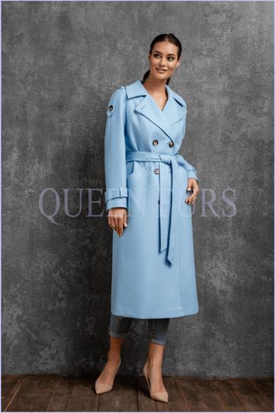Голубое пальто в стиле милитари, 110 см, модель П-37